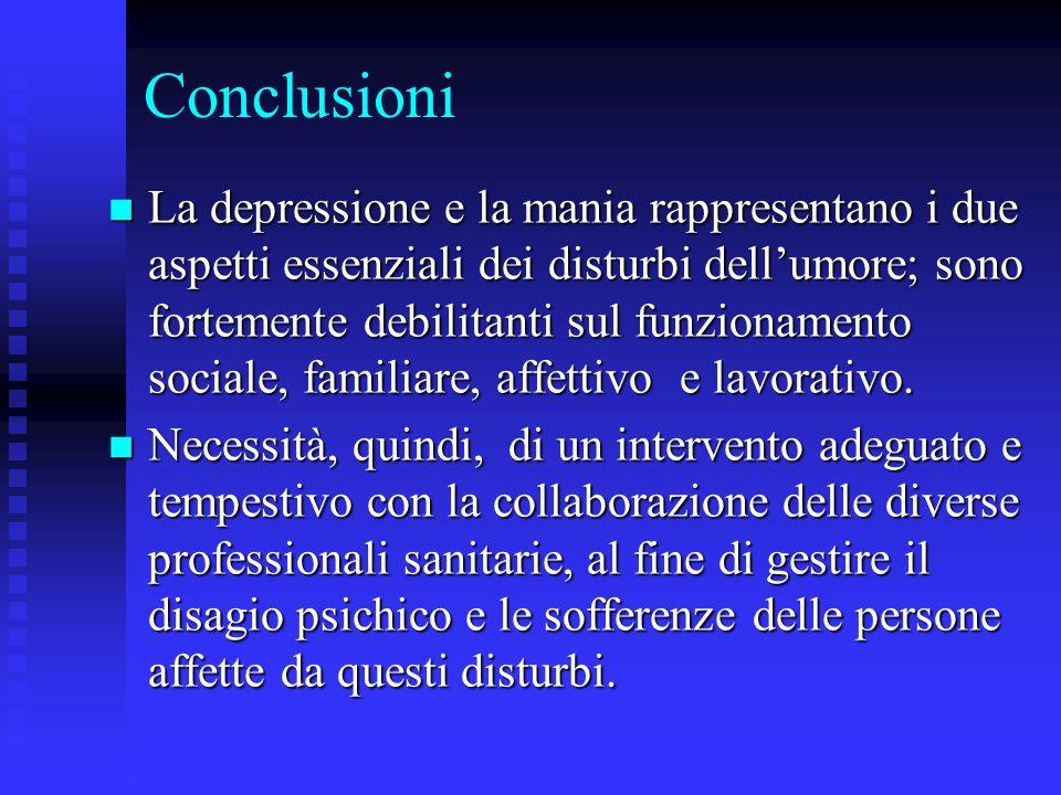 Conclusioni La depressione e la mania rappresentano i due aspetti essenziali dei disturbi dellumore; sono fortemente debilitanti sul funzionamento soc