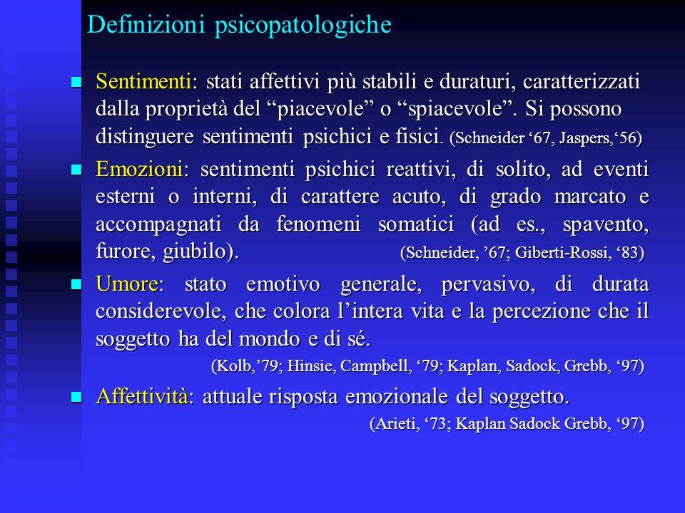 Definizioni psicopatologiche Sentimenti: stati affettivi più stabili e duraturi, caratterizzati dalla proprietà del piacevole o spiacevole. Si possono