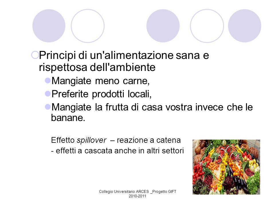 Collegio Universitario ARCES _Progetto GIFT 2010-2011 Principi di un'alimentazione sana e rispettosa dell'ambiente Mangiate meno carne, Preferite prod