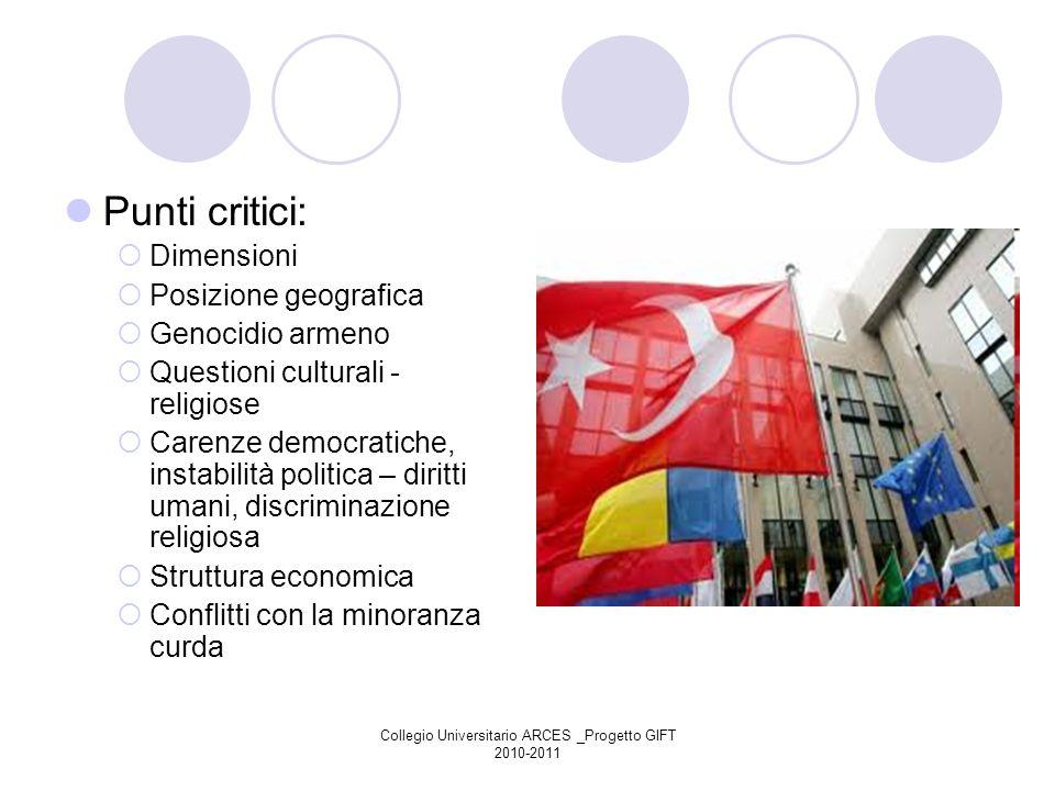 Collegio Universitario ARCES _Progetto GIFT 2010-2011 Punti critici: Dimensioni Posizione geografica Genocidio armeno Questioni culturali - religiose