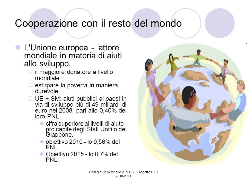 Collegio Universitario ARCES _Progetto GIFT 2010-2011 Cooperazione con il resto del mondo L'Unione europea - attore mondiale in materia di aiuti allo