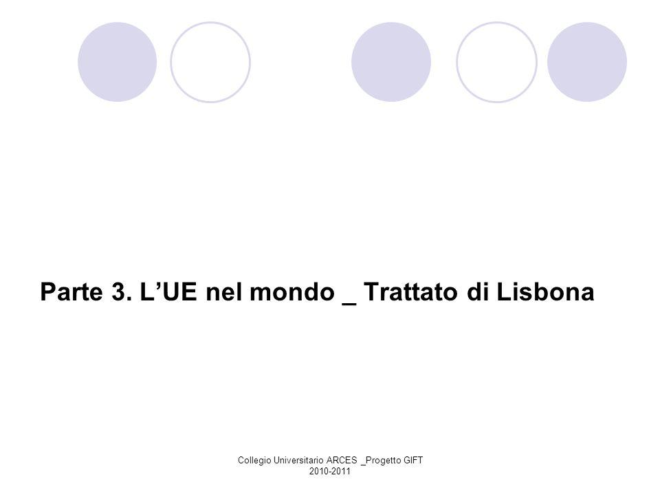 Collegio Universitario ARCES _Progetto GIFT 2010-2011 Parte 3. LUE nel mondo _ Trattato di Lisbona