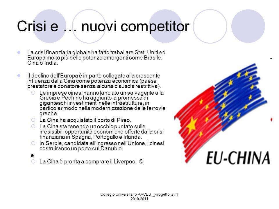 Collegio Universitario ARCES _Progetto GIFT 2010-2011 Crisi e … nuovi competitor La crisi finanziaria globale ha fatto traballare Stati Uniti ed Europ