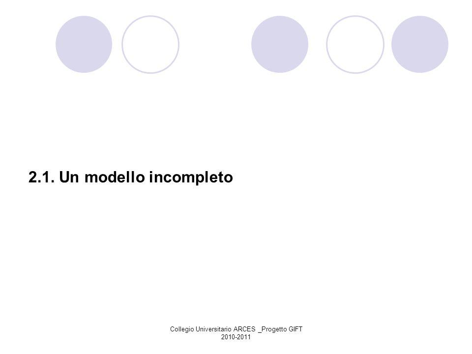 Collegio Universitario ARCES _Progetto GIFT 2010-2011 2.1. Un modello incompleto