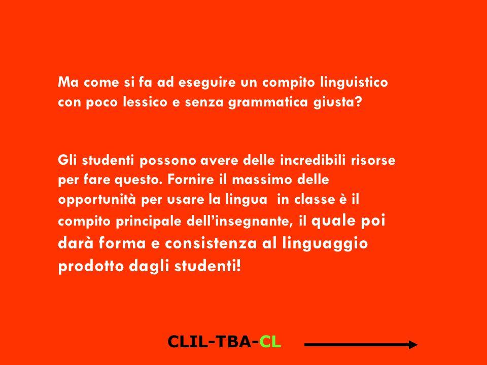 Ma come si fa ad eseguire un compito linguistico con poco lessico e senza grammatica giusta? Gli studenti possono avere delle incredibili risorse per