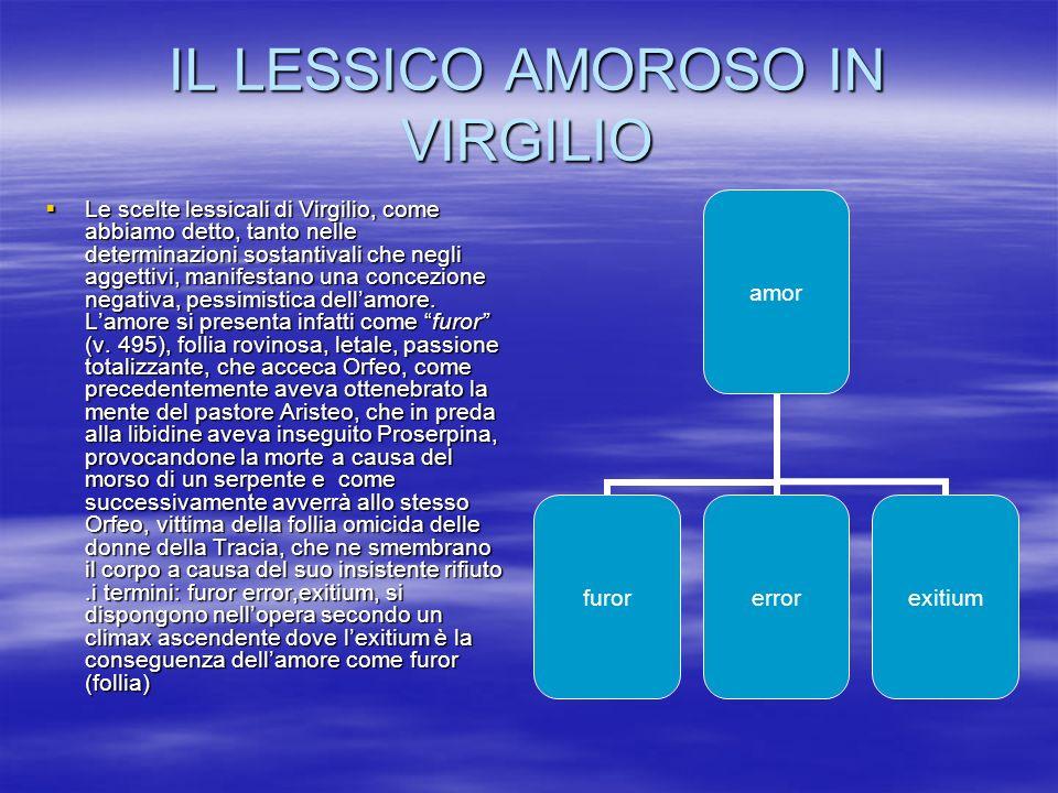 IL LESSICO AMOROSO IN VIRGILIO Le scelte lessicali di Virgilio, come abbiamo detto, tanto nelle determinazioni sostantivali che negli aggettivi, manif