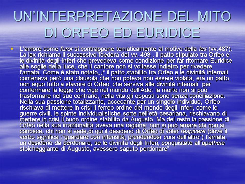 UNINTERPRETAZIONE DEL MITO DI ORFEO ED EURIDICE Lamore come furor si contrappone tematicamente al motivo della lex (vv.487). La lex richiama il succes