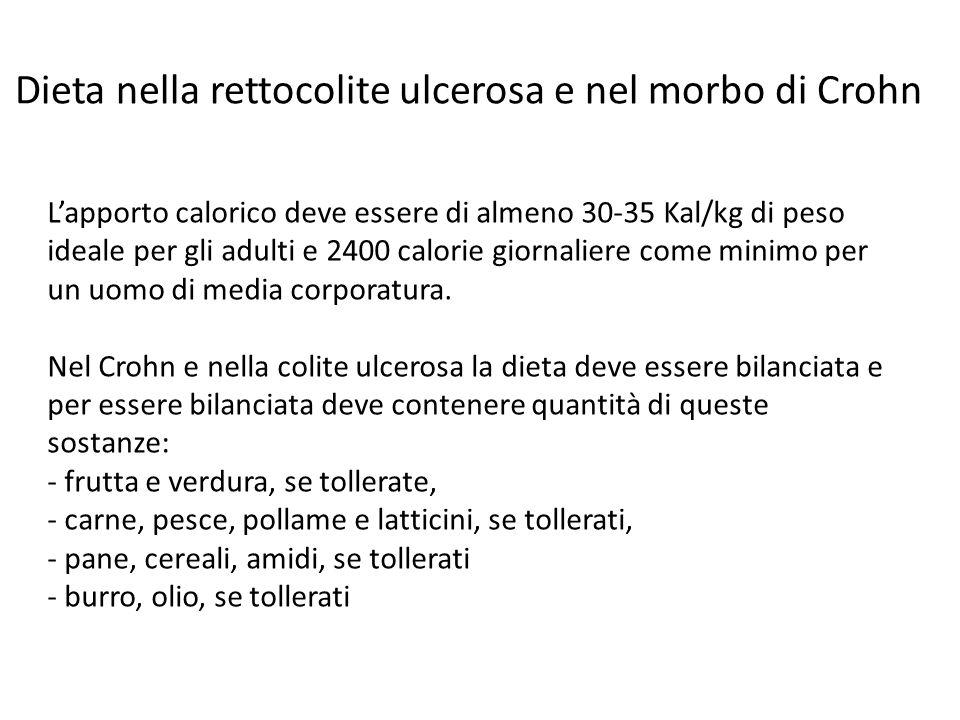Lapporto calorico deve essere di almeno 30-35 Kal/kg di peso ideale per gli adulti e 2400 calorie giornaliere come minimo per un uomo di media corpora