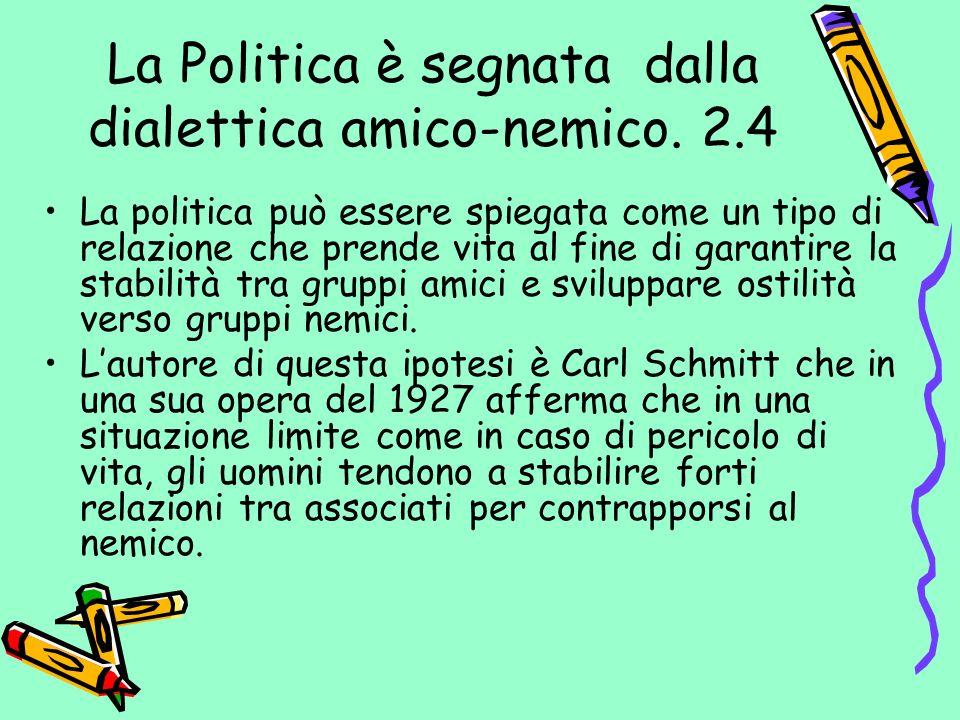 La Politica è segnata dalla dialettica amico-nemico. 2.4 La politica può essere spiegata come un tipo di relazione che prende vita al fine di garantir