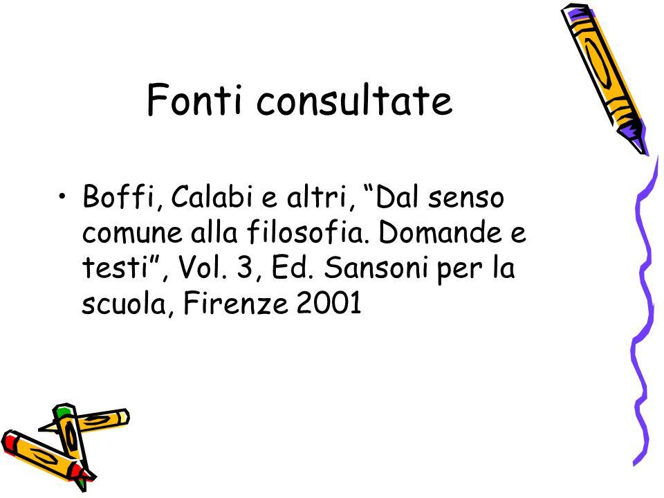 Fonti consultate Boffi, Calabi e altri, Dal senso comune alla filosofia. Domande e testi, Vol. 3, Ed. Sansoni per la scuola, Firenze 2001