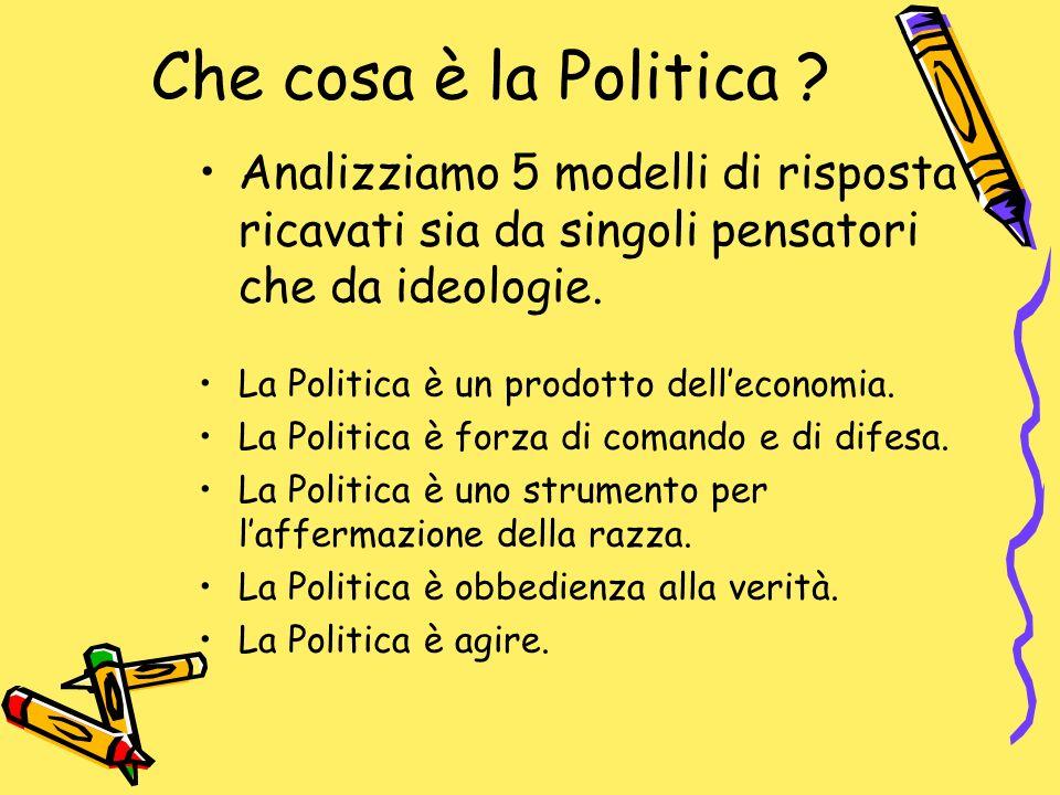 Che cosa è la Politica ? Analizziamo 5 modelli di risposta ricavati sia da singoli pensatori che da ideologie. La Politica è un prodotto delleconomia.