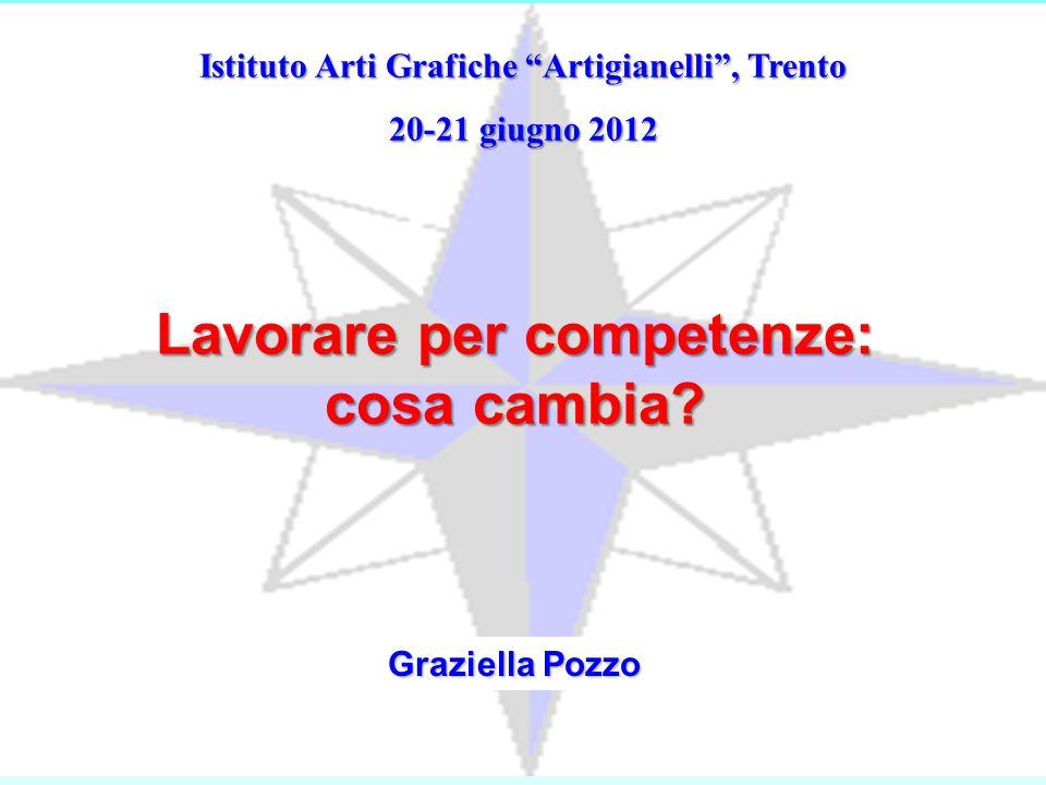 Istituto Arti Grafiche Artigianelli, Trento 20-21 giugno 2012 Graziella Pozzo Lavorare per competenze: cosa cambia?