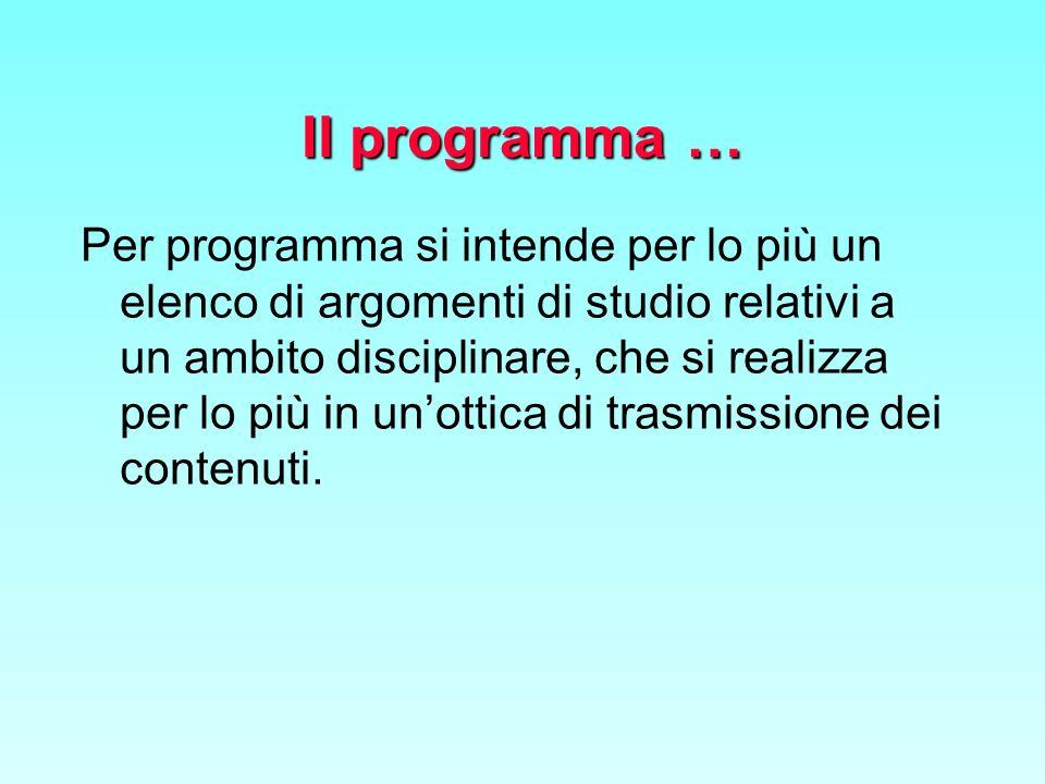 Il programma … Per programma si intende per lo più un elenco di argomenti di studio relativi a un ambito disciplinare, che si realizza per lo più in unottica di trasmissione dei contenuti.