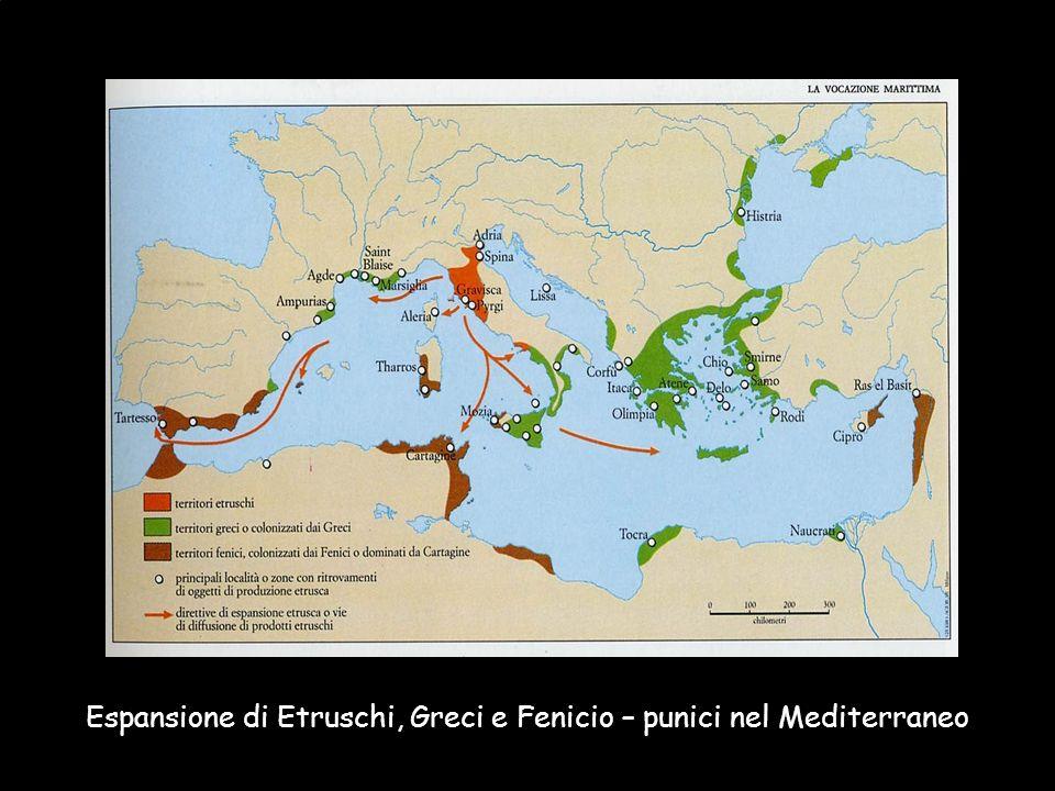 Maria Giulia PoggiEtruschi. Storia e civiltà23 Espansione di Etruschi, Greci e Fenicio – punici nel Mediterraneo