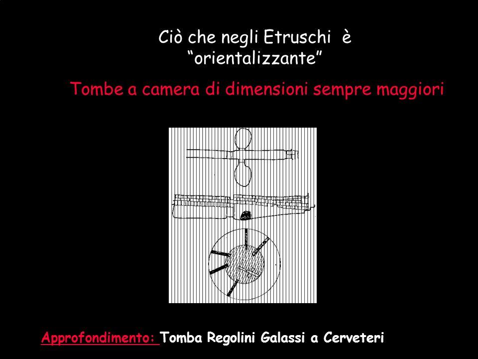 Maria Giulia PoggiEtruschi. Storia e civiltà48 Ciò che negli Etruschi è orientalizzante Tombe a camera di dimensioni sempre maggiori Approfondimento: