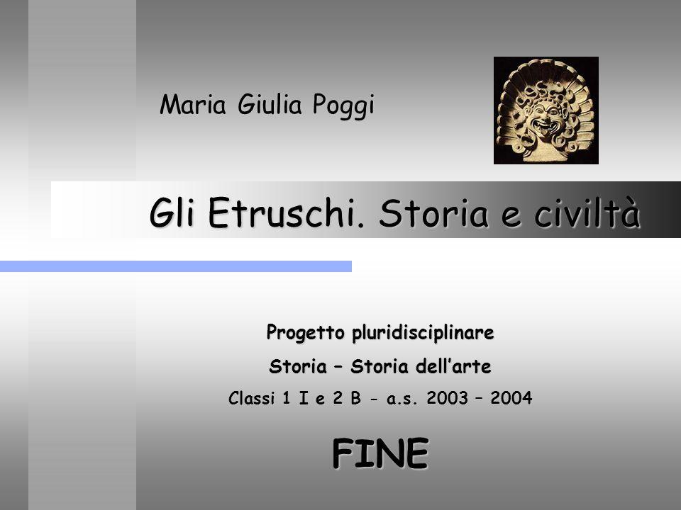 Gli Etruschi. Storia e civiltà Maria Giulia Poggi Progetto pluridisciplinare Storia – Storia dellarte Classi 1 I e 2 B - a.s. 2003 – 2004 FINE