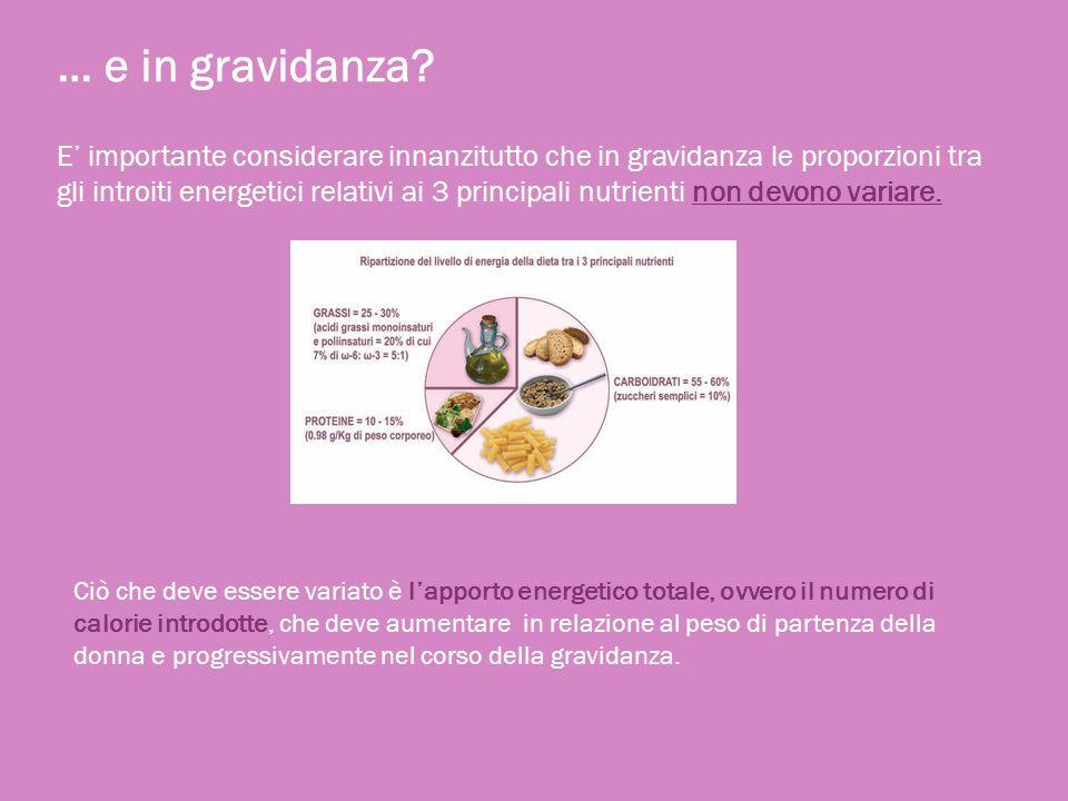 … e in gravidanza? E importante considerare innanzitutto che in gravidanza le proporzioni tra gli introiti energetici relativi ai 3 principali nutrien