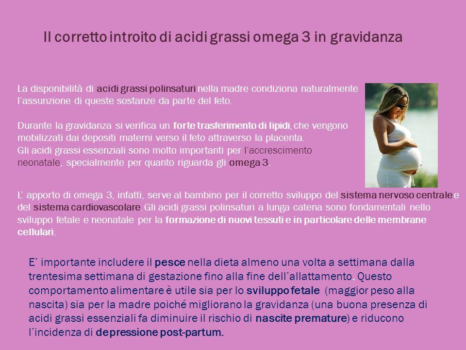 Il corretto introito di acidi grassi omega 3 in gravidanza La disponibilità di acidi grassi polinsaturi nella madre condiziona naturalmente lassunzion