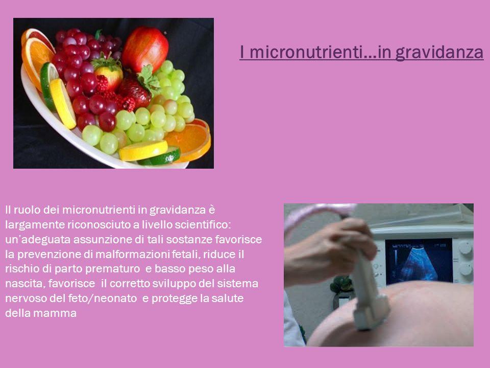 Il ruolo dei micronutrienti in gravidanza è largamente riconosciuto a livello scientifico: unadeguata assunzione di tali sostanze favorisce la prevenz