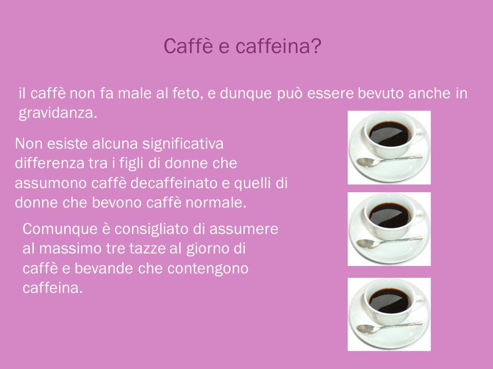 Caffè e caffeina? il caffè non fa male al feto, e dunque può essere bevuto anche in gravidanza. Non esiste alcuna significativa differenza tra i figli