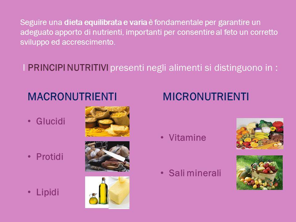 Una dieta ottimale, non solo in gravidanza, ma in ogni periodo della vita deve comprendere quantità adeguate di tutti i nutrienti, oltre che di acqua.