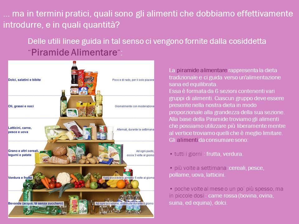 … ma in termini pratici, quali sono gli alimenti che dobbiamo effettivamente introdurre, e in quali quantità? Delle utili linee guida in tal senso ci