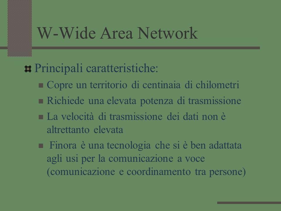 W-Wide Area Network Principali caratteristiche: Copre un territorio di centinaia di chilometri Richiede una elevata potenza di trasmissione La velocit