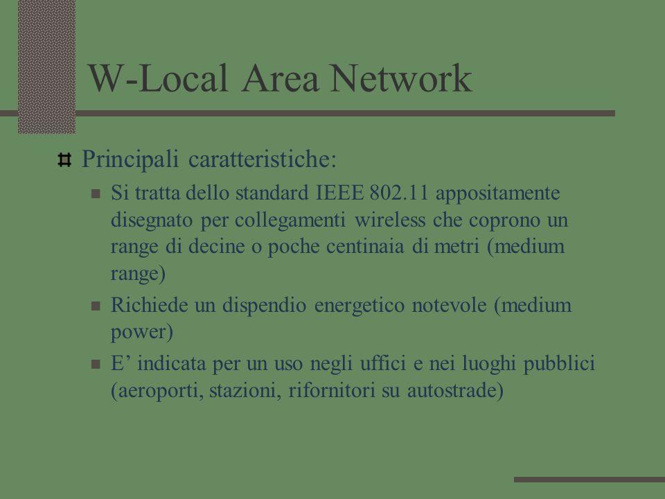 W-Local Area Network Principali caratteristiche: Si tratta dello standard IEEE 802.11 appositamente disegnato per collegamenti wireless che coprono un