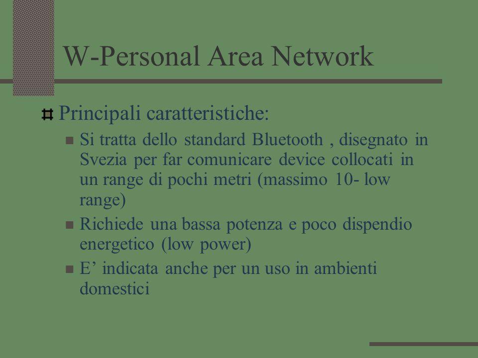 W-Personal Area Network Principali caratteristiche: Si tratta dello standard Bluetooth, disegnato in Svezia per far comunicare device collocati in un