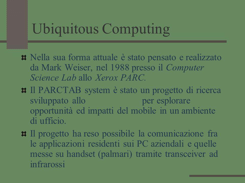 Ubiquitous Computing Nella sua forma attuale è stato pensato e realizzato da Mark Weiser, nel 1988 presso il Computer Science Lab allo Xerox PARC. Il