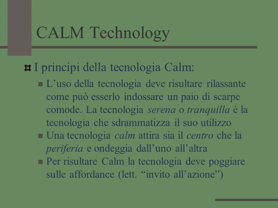 CALM Technology I principi della tecnologia Calm: Luso della tecnologia deve risultare rilassante come può esserlo indossare un paio di scarpe comode.