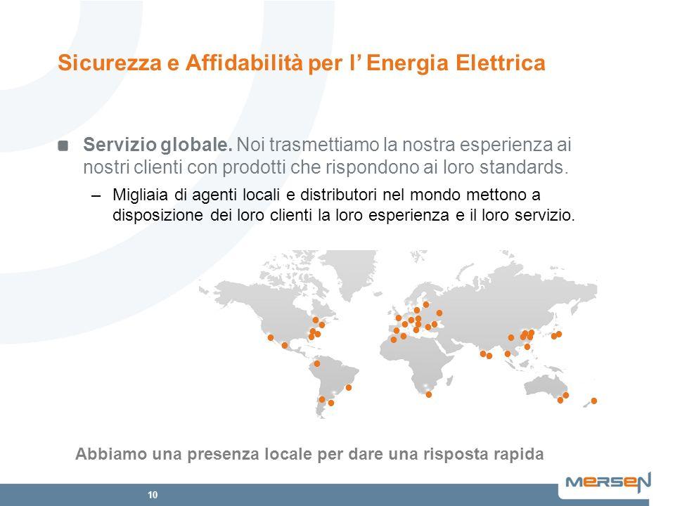 10 Servizio globale. Noi trasmettiamo la nostra esperienza ai nostri clienti con prodotti che rispondono ai loro standards. –Migliaia di agenti locali