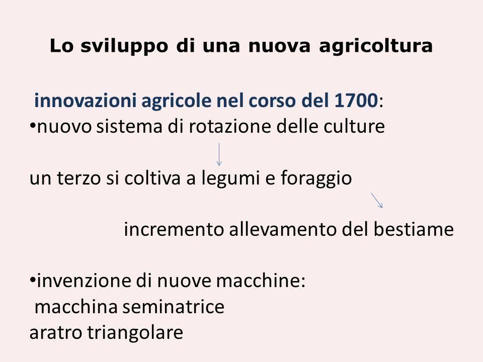 Lo sviluppo di una nuova agricoltura innovazioni agricole nel corso del 1700: nuovo sistema di rotazione delle culture un terzo si coltiva a legumi e