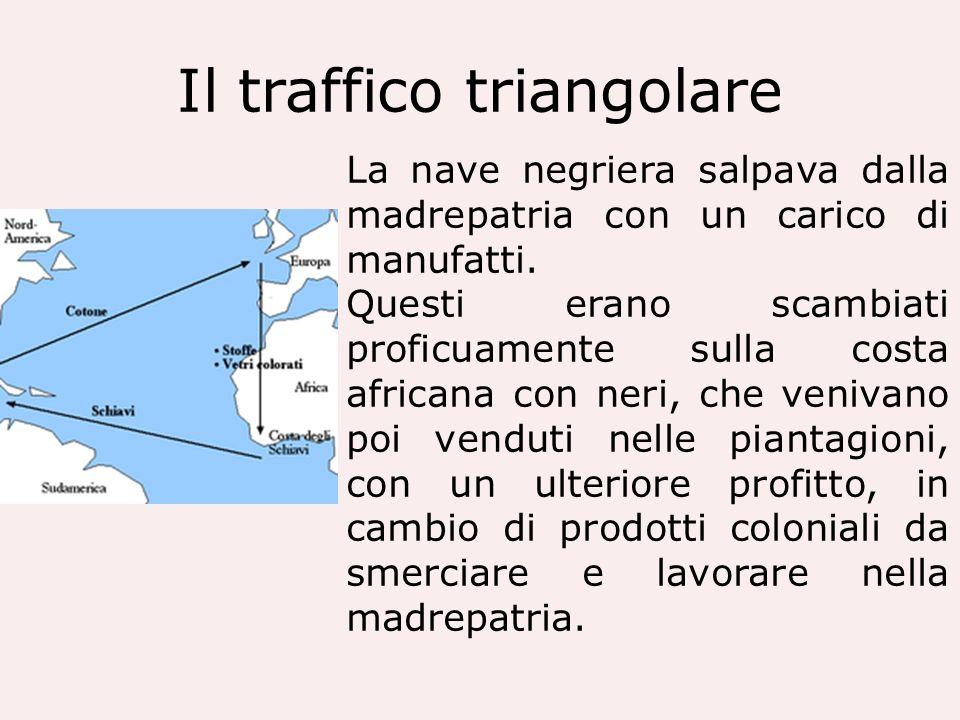 Il traffico triangolare La nave negriera salpava dalla madrepatria con un carico di manufatti. Questi erano scambiati proficuamente sulla costa africa