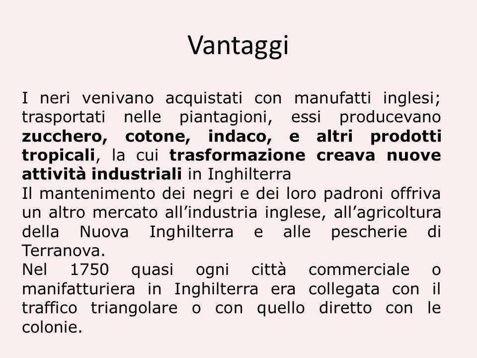Vantaggi I neri venivano acquistati con manufatti inglesi; trasportati nelle piantagioni, essi producevano zucchero, cotone, indaco, e altri prodotti
