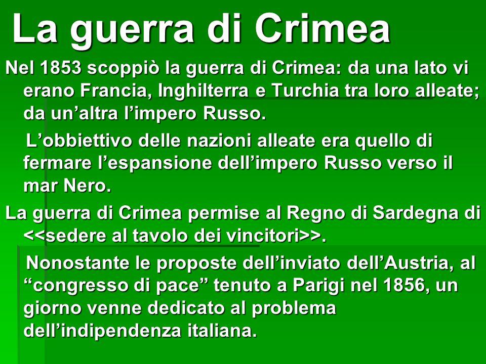 La guerra di Crimea La guerra di Crimea Nel 1853 scoppiò la guerra di Crimea: da una lato vi erano Francia, Inghilterra e Turchia tra loro alleate; da