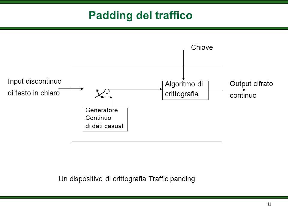 10 Analisi del traffico Anche con lencryption un opponent può ottenere delle informazioni utili Può essere fatto monitorando il flusso di traffico Uti