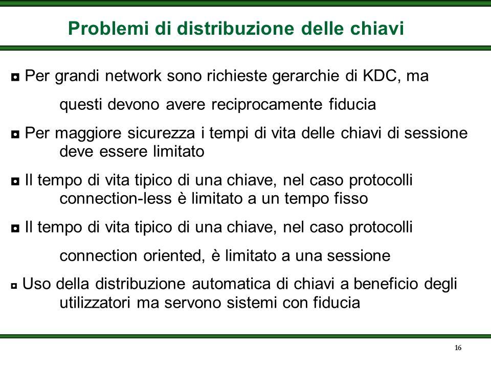 15 Crittografia in una rete a commutazione di pacchetto Ogni utente i condivide una master key k i col KDC
