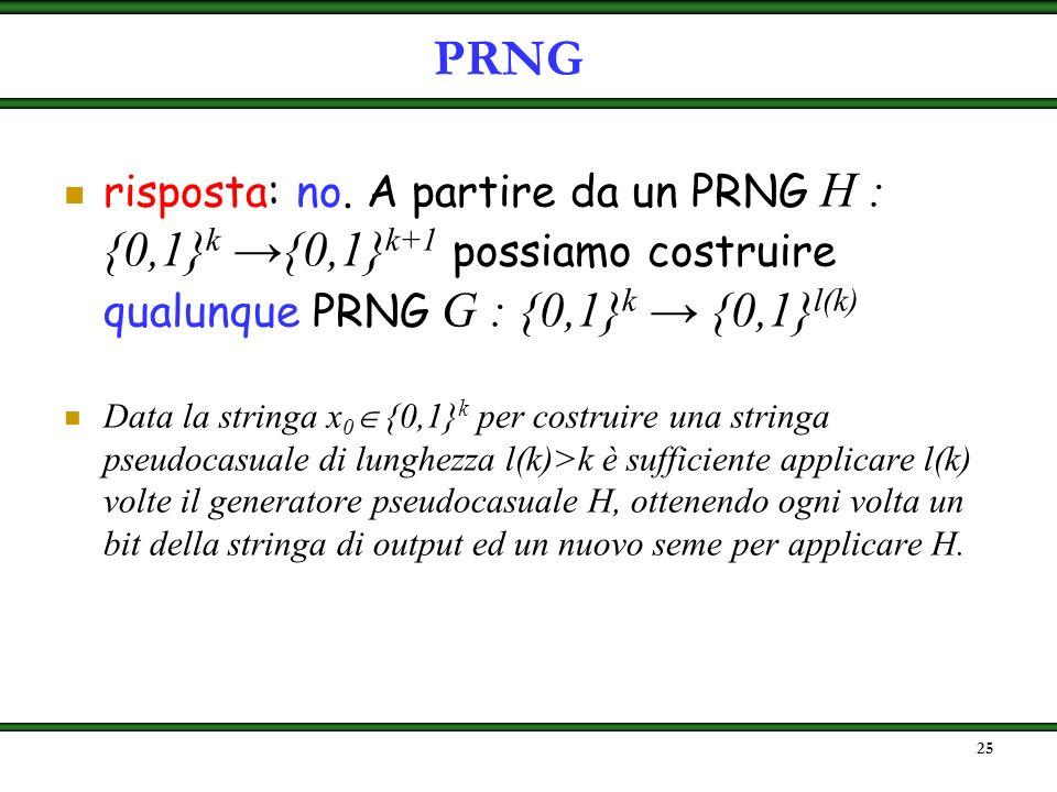 24 problema: costruire una funzione G : {0,1} k {0,1} l(k) che allunga linput, verificando i requisiti della definizione domanda: dobbiamo costruire u