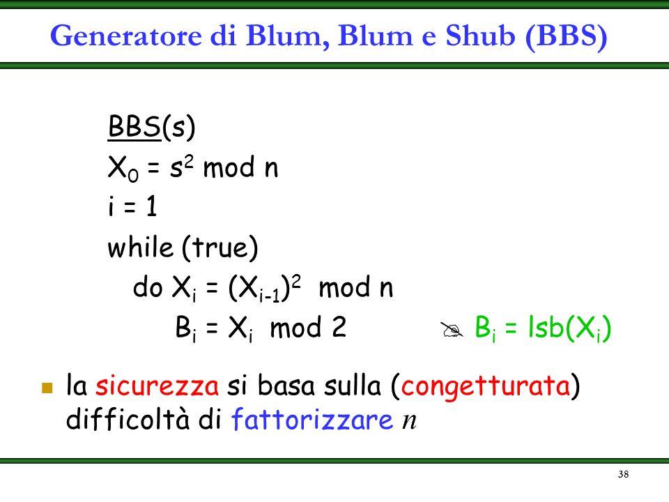 37 proposto nel 1986 siano p e q numeri primi (grandi) tali che: p 3 mod 4, q 3 mod 4 sia n = p q si sceglie a caso s tale che MCD (s, n) = 1 ( s non