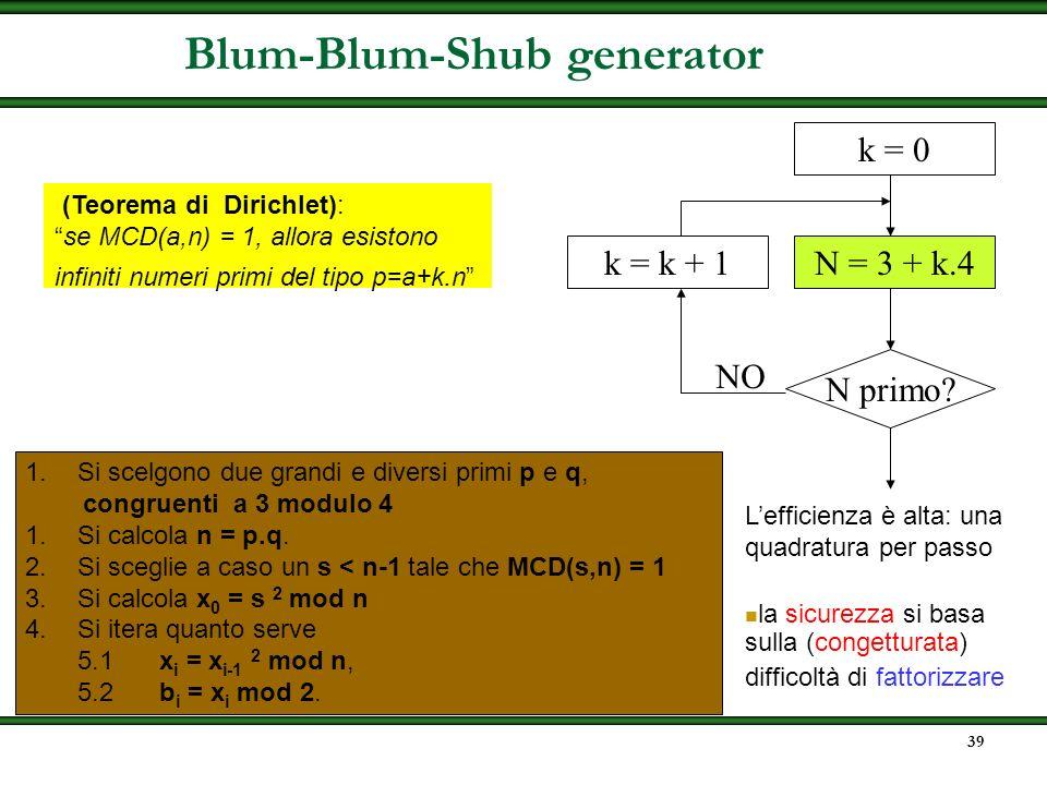 38 BBS(s) X 0 = s 2 mod n i = 1 while (true) do X i = (X i-1 ) 2 mod n B i = X i mod 2 B i = lsb(X i ) la sicurezza si basa sulla (congetturata) diffi