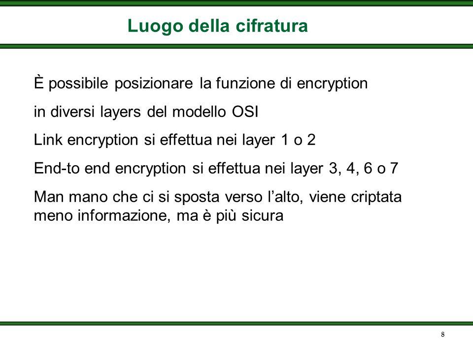 8 Luogo della cifratura È possibile posizionare la funzione di encryption in diversi layers del modello OSI Link encryption si effettua nei layer 1 o 2 End-to end encryption si effettua nei layer 3, 4, 6 o 7 Man mano che ci si sposta verso lalto, viene criptata meno informazione, ma è più sicura