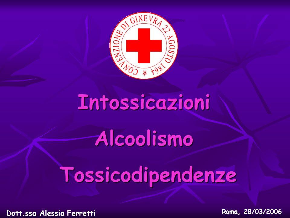 IntossicazioniAlcoolismo Tossicodipendenze Tossicodipendenze Dott.ssa Alessia Ferretti Roma, 28/03/2006