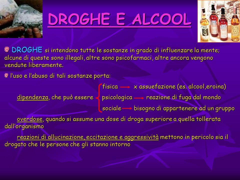DROGHE E ALCOOL DROGHE si intendono tutte le sostanze in grado di influenzare la mente; alcune di queste sono illegali, altre sono psicofarmaci, altre ancora vengono vendute liberamente.