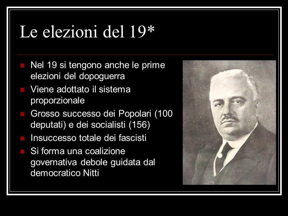 La situazione politica* Il 1919 è un anno cruciale per la politica Nasce il Partito Polare di Don Sturzo I cattolici rientrano così sulla scena politi