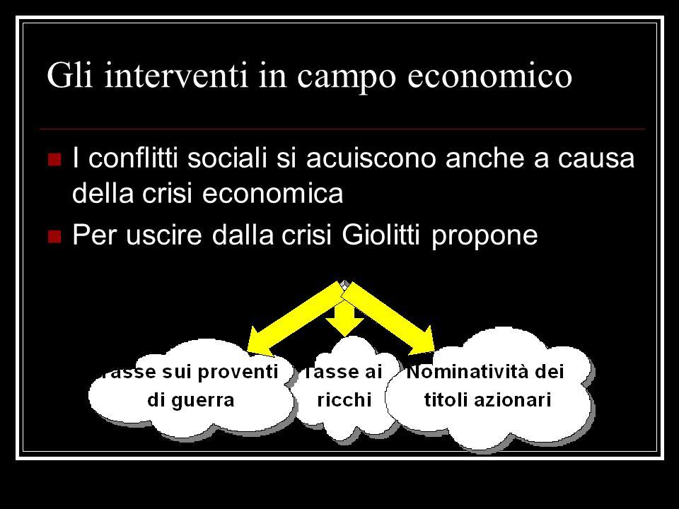 Gli interventi in campo economico I conflitti sociali si acuiscono anche a causa della crisi economica Per uscire dalla crisi Giolitti propone