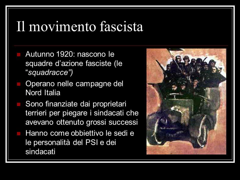 Il movimento fascista Autunno 1920: nascono le squadre dazione fasciste (lesquadracce) Operano nelle campagne del Nord Italia Sono finanziate dai proprietari terrieri per piegare i sindacati che avevano ottenuto grossi successi Hanno come obbiettivo le sedi e le personalità del PSI e dei sindacati