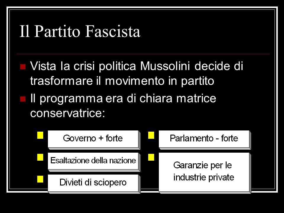 Il Partito Fascista Vista la crisi politica Mussolini decide di trasformare il movimento in partito Il programma era di chiara matrice conservatrice: