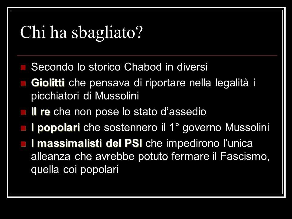 Mussolini e i suoi alleati Chi sostiene per i primi anni il governo di Mussolini?
