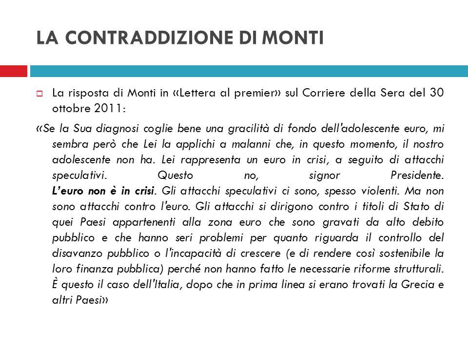 LA CONTRADDIZIONE DI MONTI La risposta di Monti in «Lettera al premier» sul Corriere della Sera del 30 ottobre 2011: «Se la Sua diagnosi coglie bene u